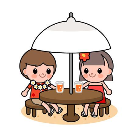 Children drinking juice on beach, vector illustration. Illustration