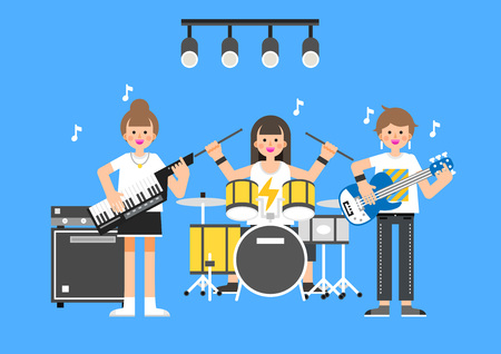 Teenager musical group performing on blue background. Illustration