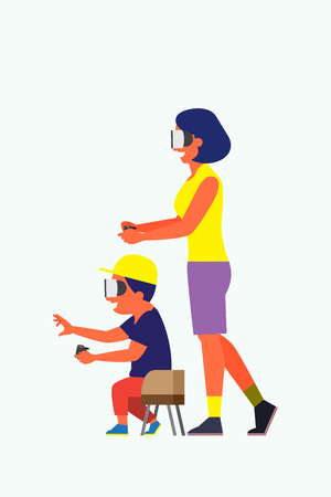 Mother and son playing virtual reality game Illustration