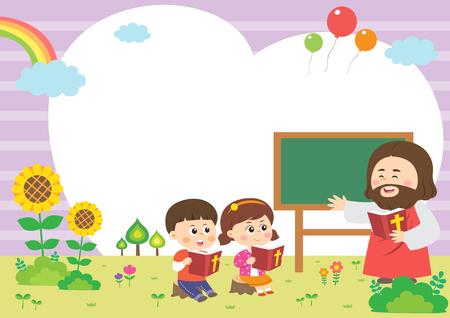 Children attending bible camp, vector illustration.