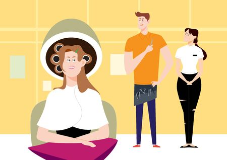 Beautiful woman getting a perm at beauty saloon, vector illustration.
