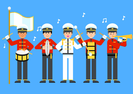 Military band marching on blue background, vector illustration. Vettoriali