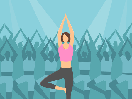 Woman doing Pilates on exercise silhouette, vector illustration.