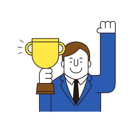 Businessman holding trophy, vector illustration.