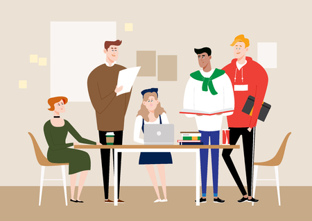 Multiracial students studying, vector illustration.