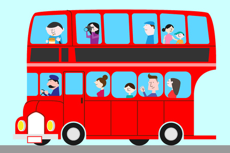Tourist taking on a double deck bus, vector illustration.