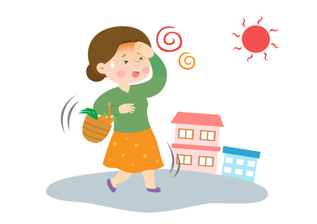 Housewife feels dizzy, vector illustration.
