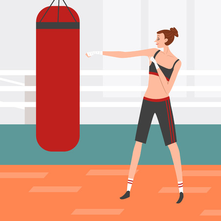 Woman doing boxing, vector illustration.