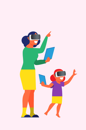 Teacher and children with virtual reality headset
