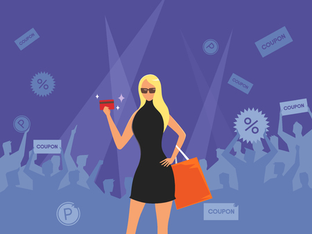 Woman shopping on people silhouette, vector illustration.