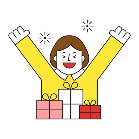 Businesswoman with gift, vector illustration.