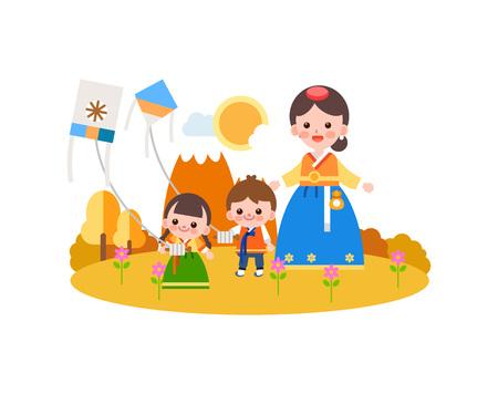 Family in Korea tradition clothing flying kite, vector illustration.