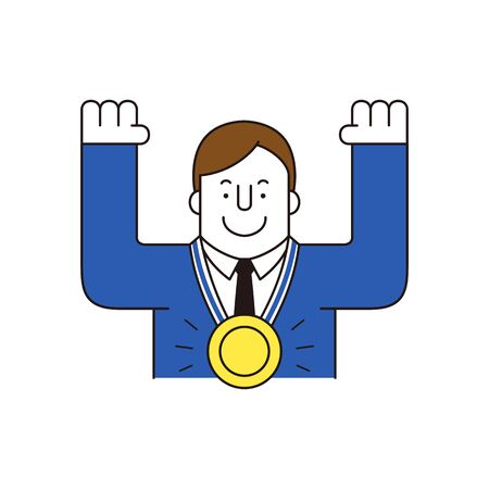 Businessman with prize, vector illustration.