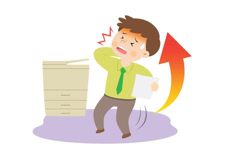 Businessman having high blood pressure, vector illustration.