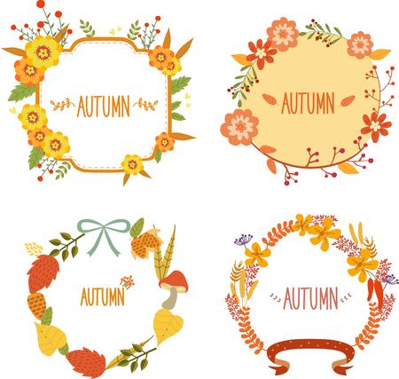Autumn flower wreath template, vector illustration.
