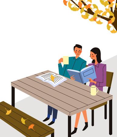 Paar leesboek in openlucht café, vectorillustratie.