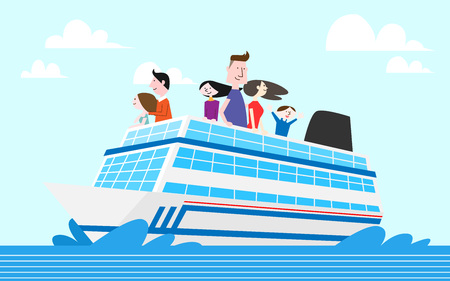 Tourist getting aboard a cruise, vector illustration.