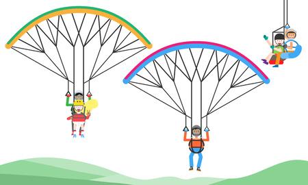 People enjoying sky diving, vector illustration.