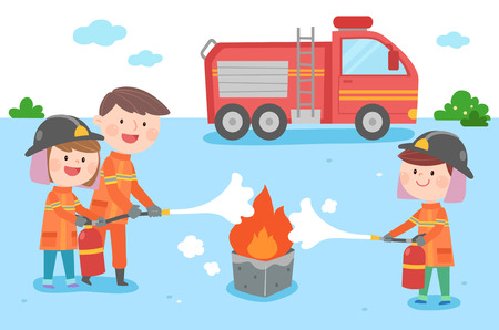 Happy family practicing extinguish fire, vector illustration.