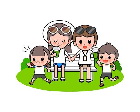 Happy family enjoying picnic, vector illustration.
