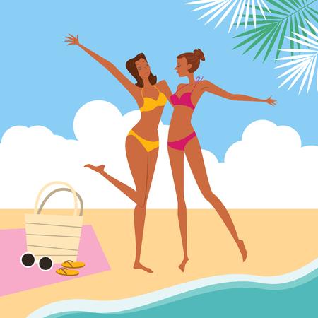 Women enjoying at beach, vector illustration.