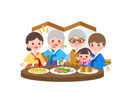 Family in Korea tradition clothing eating food. Illustration