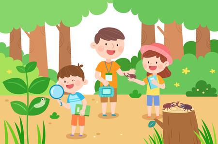 Famiglia felice che raccoglie insetto, illustrazione vettoriale.