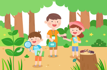 Happy family collecting insect, vector illustration.