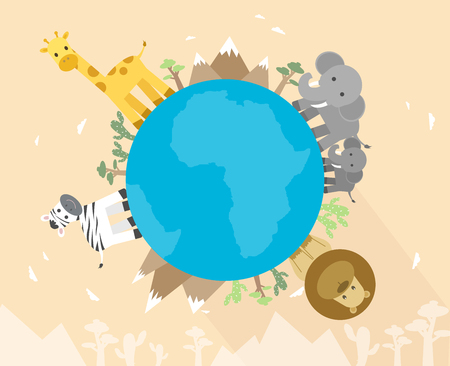 Africa animals on globe, vector illustration.