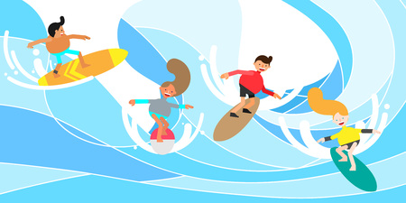 People enjoying surfing, vector illustration. Çizim