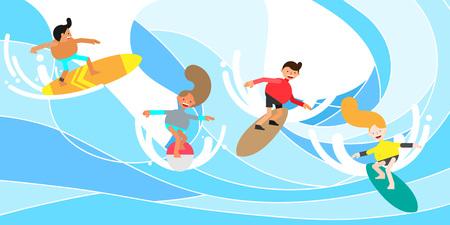 People enjoying surfing, vector illustration. Vectores