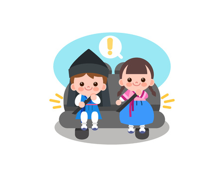 Children in Korea tradition clothing fasten seat belt. Illustration