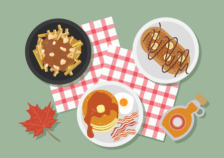Top view of Canada restaurant table, vector illustration. Illustration