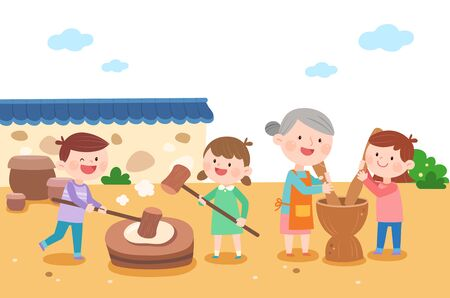 Happy family making rice cake, vector illustration. Illustration