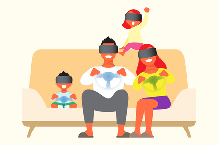 Family playing virtual reality game Illustration
