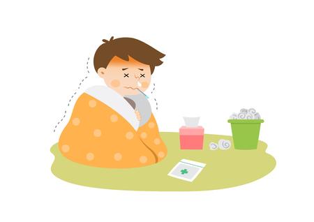 Man having a fever cold, vector illustration.