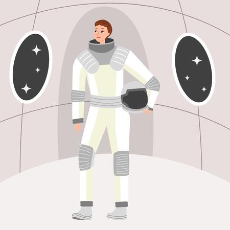 Woman astronaut standing in spacecraft, vector illustration.