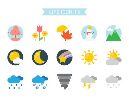 Weather icon set, vector illustration.