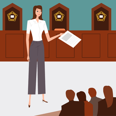 Attorney pleading the case in court, vector illustration.