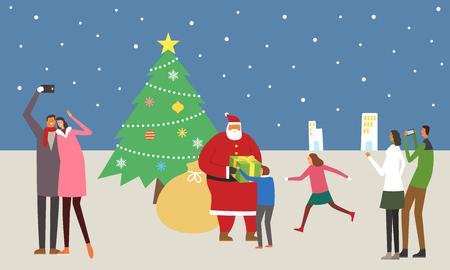 People enjoying on Christmas day Vettoriali