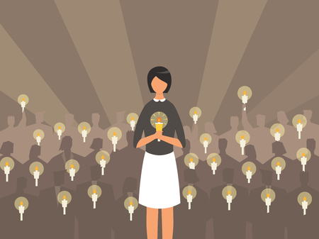 Woman holding candle on people silhouette, vector illustration. Illustration