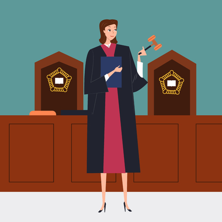 Woman judge holding gavel in court, vector illustration.