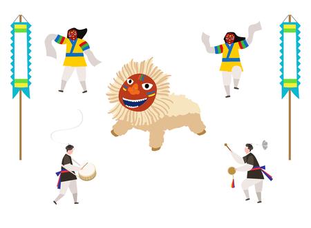 전통 놀이를하는 한국 전통 의상을 입은 사람들. 일러스트