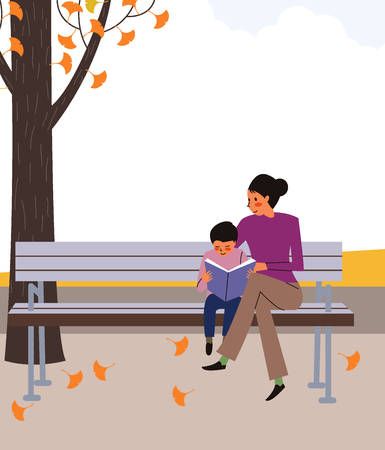 Woman and son reading book on bench, vector illustration.