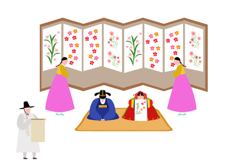 People in Korea traditional clothing having traditional wedding.