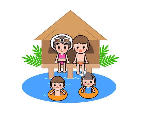 Happy family enjoying at beach, vector illustration. Illustration