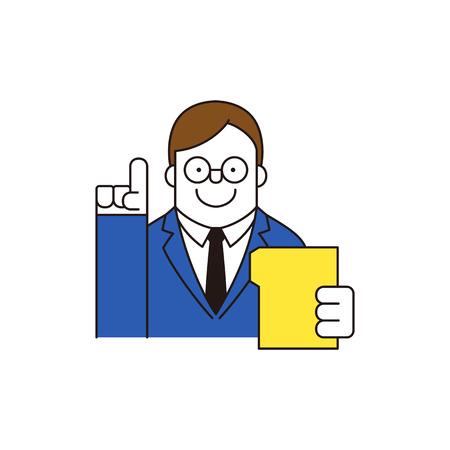 Businessman holding document, vector illustration. Illustration