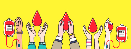 People Hand with blood donation Stock Illustratie