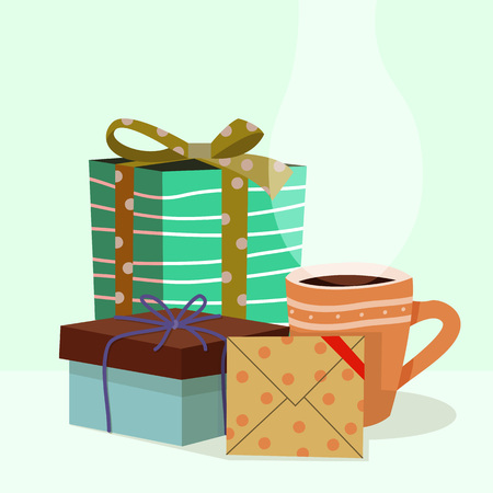 Celebration giftbox, letter and coffee