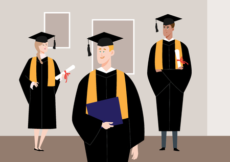 Multiracial students on graduation day, vector illustration.